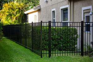 Black Aluminum Fence with gate around your house