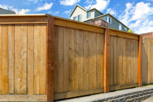 House backyard new wood fence with gate door in suburban residential neighborhood
